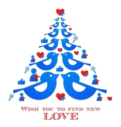 wishes for christmas blue bird tree with social vector image vector image