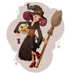 Halloween masquerade beautiful young woman witch vector