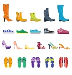 Different shoes isolated collection vector