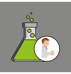 Scientist worker research filled beaker vector
