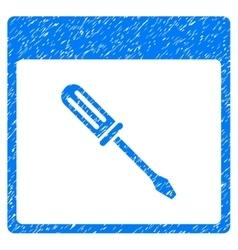 Screwdriver calendar page grainy texture icon vector