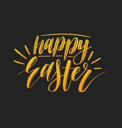 Happy easter calligraphy on black vector