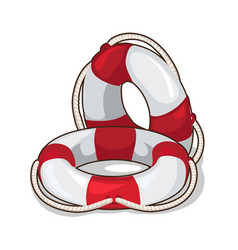 Classic inflatable lifebuoy on a white background vector