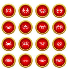 Various crab icon red circle set vector