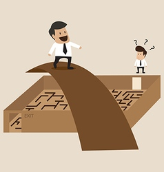 Businessman walks cross the maze vector