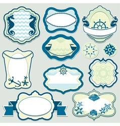 Set of design elements - marine themes frames vector image