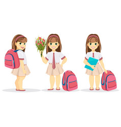 Schoolgirl with backpack bouquet of flowers and vector