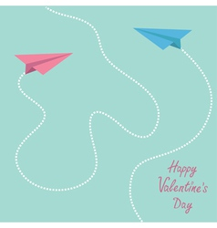 Pink and blue origami paper planes valentines day vector