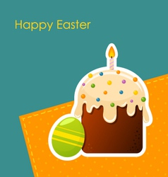 Easter egg and cake with candle vector