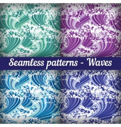 Set of seamless patterns - waves abstract vector