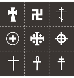Crosses icons set vector