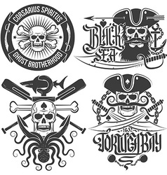 Emblems with skull vector