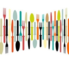 Cutlery dishe spoon knife and fork vector