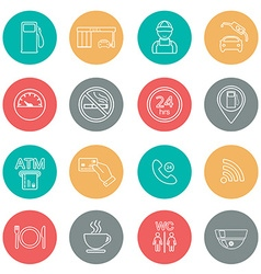 Line gas station icons service icons vector