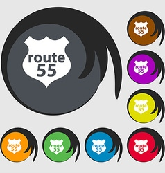 Route 55 highway icon sign symbols on eight vector