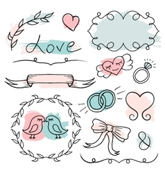 Romantic set hand drawn elements vector