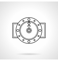 Time black flat line icon vector