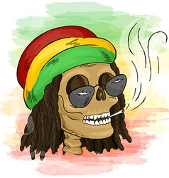 Printable hand drawn reggae smoking skull wearing vector