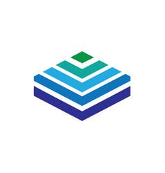 abstract hexagon arrow layered logo vector image