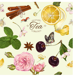 Aromatic tea pattern vector