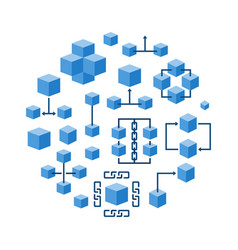 Blockchain technology round blue vector