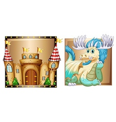 Blue dragon and palace vector image
