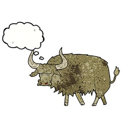 Cartoon annoyed hairy cow with thought bubble vector