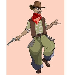 Cartoon funny man in cowboy clothes vector