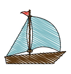 Color crayon stripe image wooden boat with sail vector