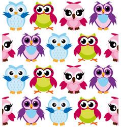 colorful cartoon funny owls vector image vector image