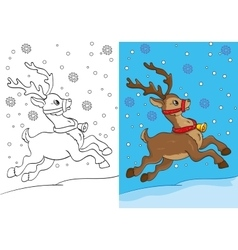 Coloring book of christmas deer running on snow vector