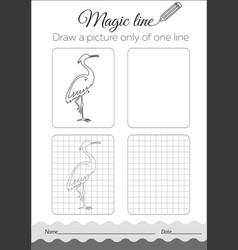 Coloring book with heron cartoon vector