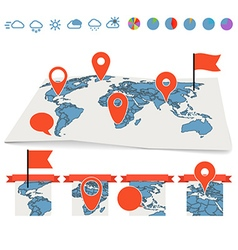 Earth maps set with pins and charts vector image vector image