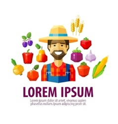 farmer logo design template harvest or vector image vector image