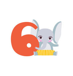 funny cute elephant animal and number six vector image