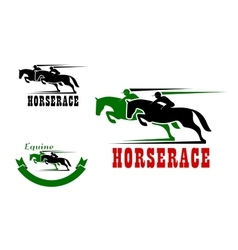 Horse race icons and equestrian sport vector