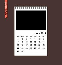 June 2014 calendar vector image vector image