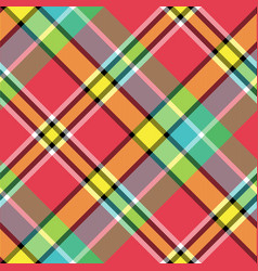 Madras bright color check plaid seamless fabric vector