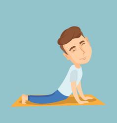 man practicing yoga upward dog pose vector image vector image