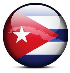 Map on flag button of republic of cuba vector