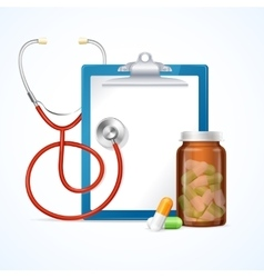 Medical concept stethoscope clipboard and pills vector