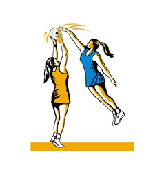Netball player shooting blocked vector