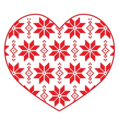 Nordic winter red and white heart pattern vector image vector image