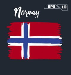 Norway flag brush strokes painted vector