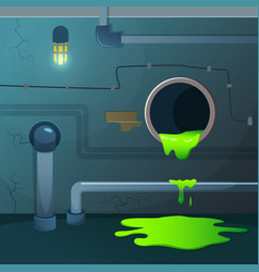 Old basement acid dripping from pipe game vector