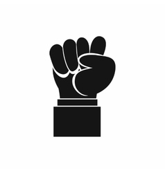 Raised up clenched male fist icon simple style vector
