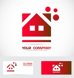 Red house real estate logo vector image vector image