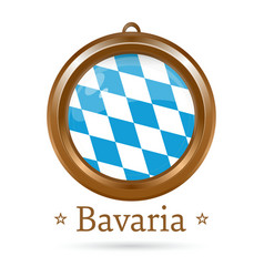 Round medallion with the flag of bavaria inside vector