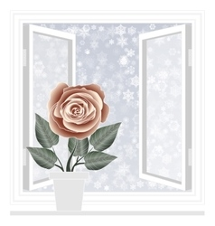 Save heat postcard open window with snowflakes vector image vector image