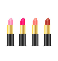 Set of color lipsticks isolated on white vector